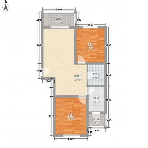 力旺康景2室1厅1卫1厨76.00㎡户型图