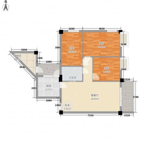 东方华庭3室1厅1卫1厨118.00㎡户型图