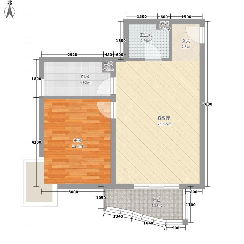 汾河外滩75.48㎡汾河外滩户型图K户型1室1厅1卫1厨户型1室1厅1卫1厨