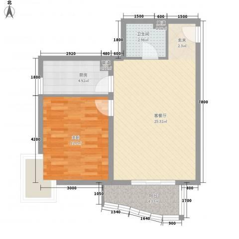 汾河外滩1室1厅1卫1厨75.00㎡户型图