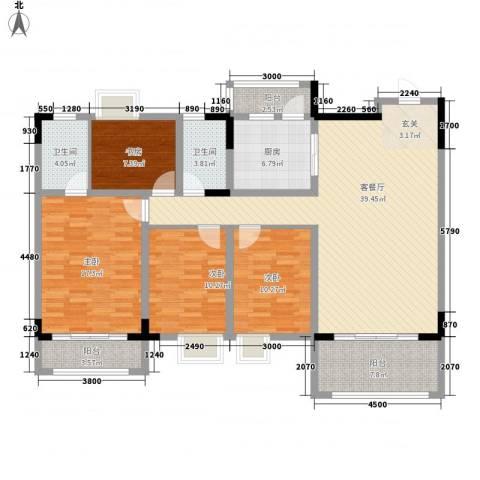 逸湖半岛4室1厅2卫1厨140.00㎡户型图