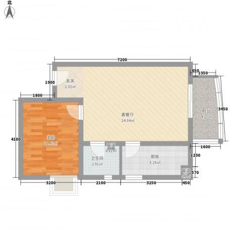 汾河外滩1室1厅1卫1厨74.00㎡户型图