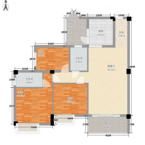 东方华庭3室1厅2卫1厨132.00㎡户型图