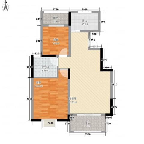 怡和花园2室1厅1卫1厨75.00㎡户型图