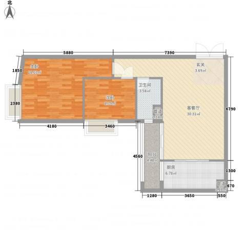 金湾畔2室1厅1卫1厨81.57㎡户型图