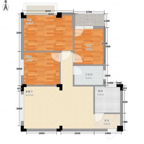 东方华庭3室1厅1卫1厨98.00㎡户型图