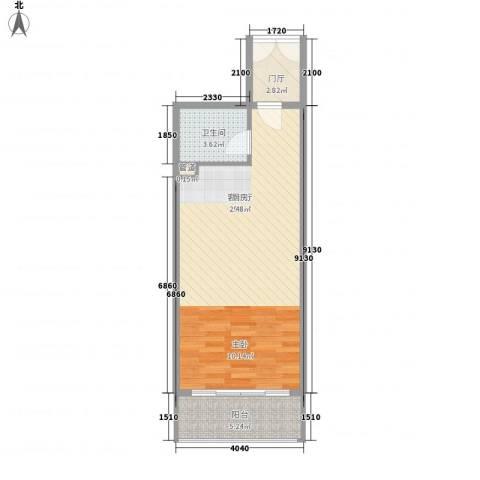 国色天香1厅1卫0厨58.00㎡户型图
