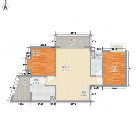 金湾畔2室1厅1卫1厨79.37㎡户型图