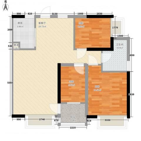 兰亭熙园3室1厅1卫1厨91.00㎡户型图