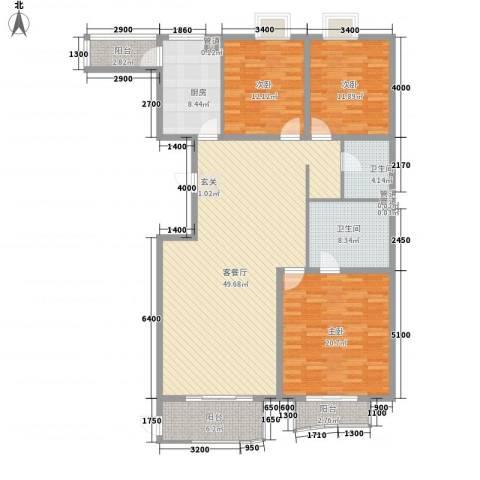 汾河外滩3室1厅2卫1厨178.00㎡户型图