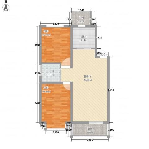 力旺康景2室1厅1卫1厨91.00㎡户型图