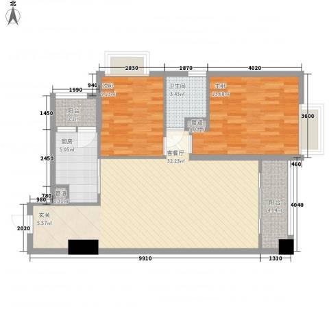 金湾畔2室1厅1卫1厨80.01㎡户型图
