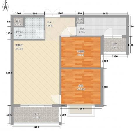 金湾畔2室1厅1卫1厨75.47㎡户型图