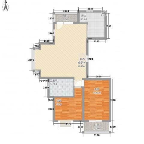 怡水湾2室1厅1卫1厨74.33㎡户型图