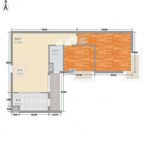 金湾畔2室1厅1卫1厨78.05㎡户型图