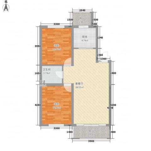 力旺康景2室1厅1卫1厨90.00㎡户型图