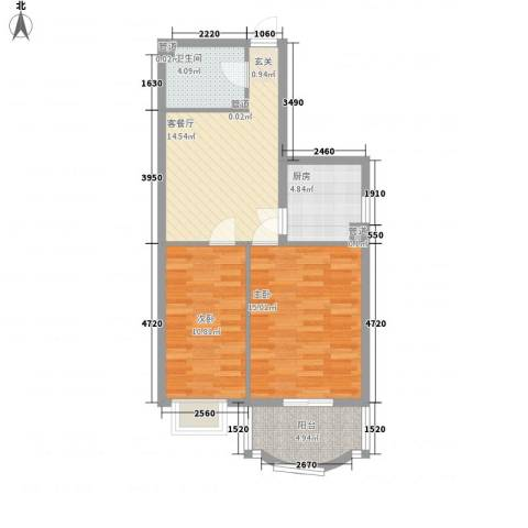 新浪屿花园2室1厅1卫1厨78.00㎡户型图
