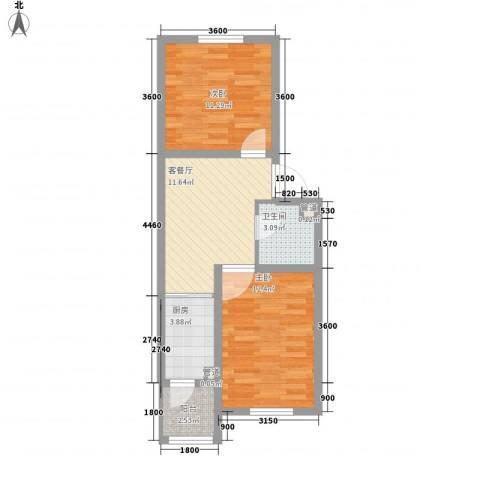 力旺康景2室1厅1卫1厨64.00㎡户型图