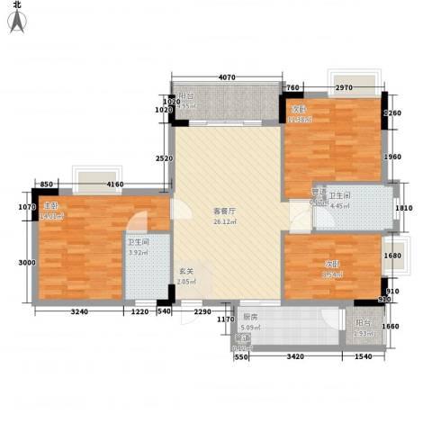 翠华花园二期3室1厅2卫1厨91.47㎡户型图