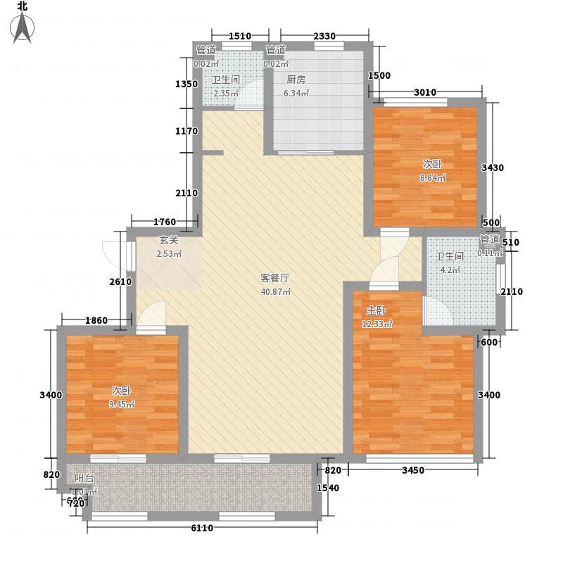 浮来春花园133.00㎡高层F户型3室2厅2卫1厨
