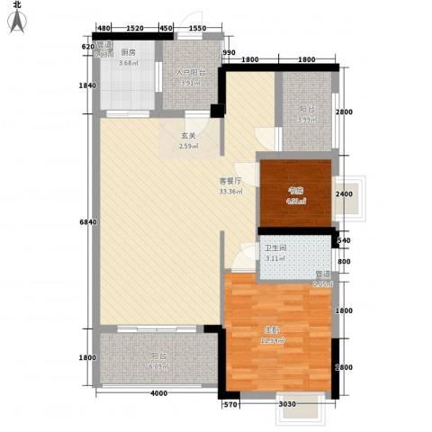 嘉景华庭2室1厅1卫1厨90.00㎡户型图