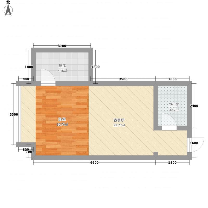 绝对城市51.83㎡绝对城市户型图三期5户型1室1厅1卫1厨户型1室1厅1卫1厨