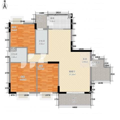 翠华花园二期3室1厅2卫1厨131.00㎡户型图