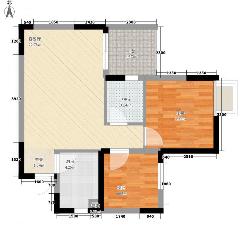 团结名居枫园68.00㎡团结民居户型2室2厅1卫1厨