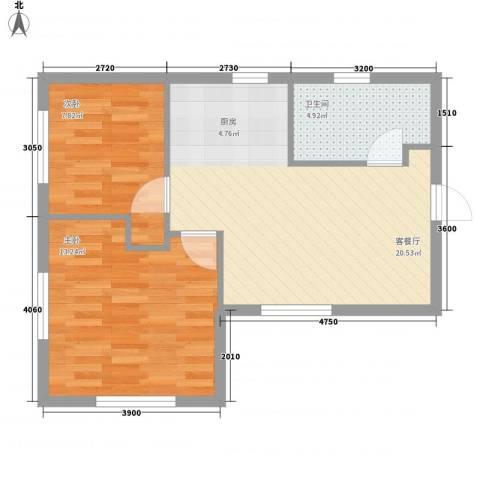 坦城2室1厅1卫0厨65.00㎡户型图