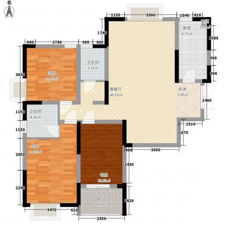 万邦・翰林郡3室1厅2卫1厨136.00㎡户型图