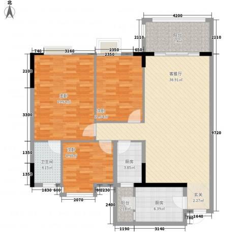 逸湖半岛3室1厅1卫2厨123.00㎡户型图