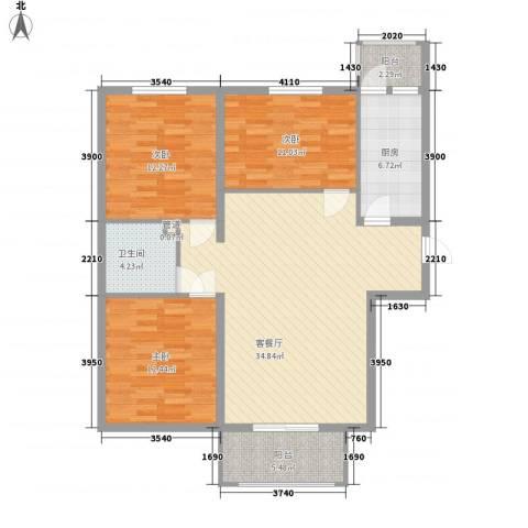 东方渔人码头3室1厅1卫1厨125.00㎡户型图