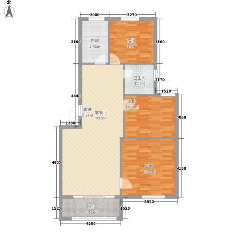 坤源绿洲半岛3室1厅1卫1厨113.00㎡户型图