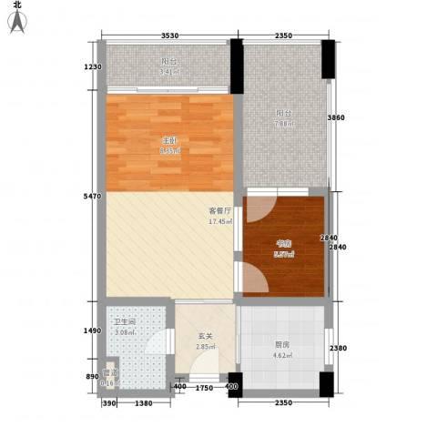 天成国际1室1厅1卫1厨63.00㎡户型图