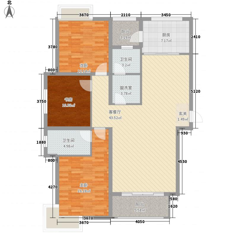 万腾・御景城155.54㎡1-4号楼A4户型3室2厅2卫1厨