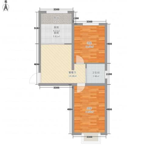 力旺康景2室1厅1卫1厨73.00㎡户型图