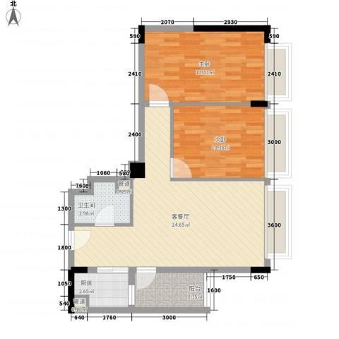 天成国际2室1厅1卫1厨83.00㎡户型图