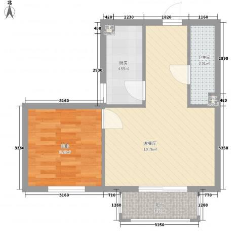 东方渔人码头1室1厅1卫1厨58.00㎡户型图