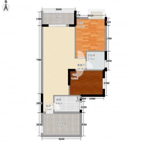 富川瑞园2室1厅1卫1厨98.00㎡户型图