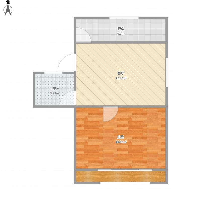 东波苑二街坊全明一房,一梯二户,南北通透,51平米
