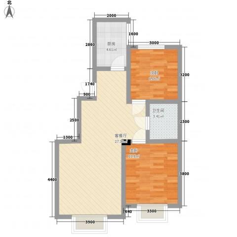 沈阳月星国际城2室1厅1卫1厨87.00㎡户型图