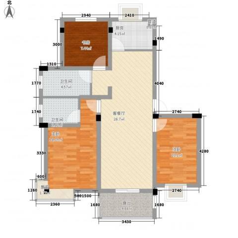 鑫达・风和日丽3室1厅2卫1厨110.00㎡户型图