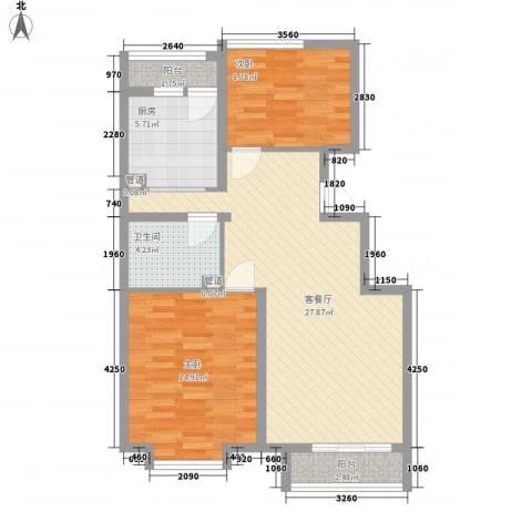 东方渔人码头2室1厅1卫1厨95.00㎡户型图