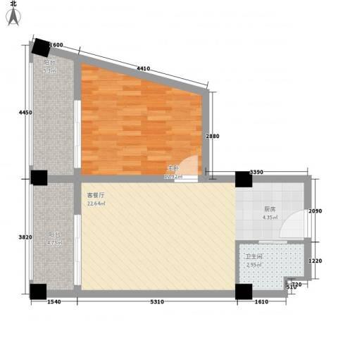 阅海观山・温泉度假村1室1厅1卫0厨70.00㎡户型图