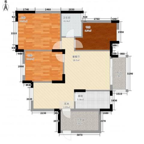 富川瑞园3室1厅1卫1厨112.00㎡户型图
