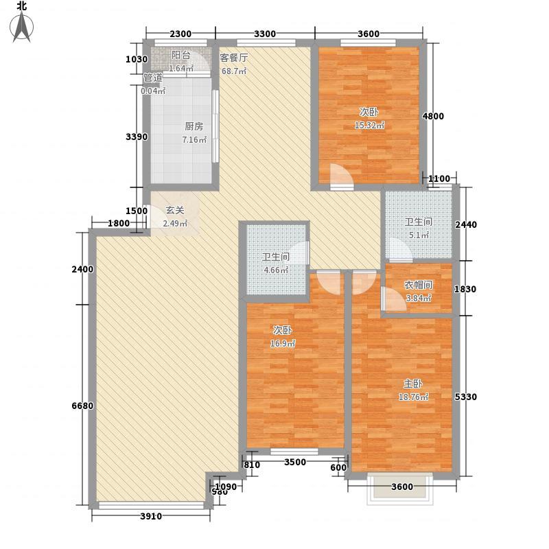 温哥华国际花园O户型3室2厅2卫1厨