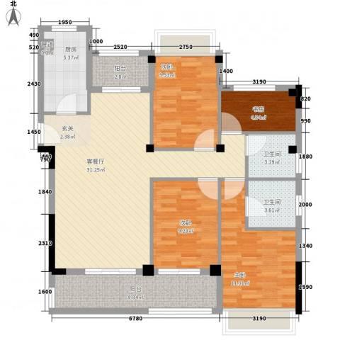 御泉万景4室1厅2卫1厨129.00㎡户型图