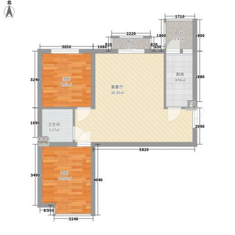 东方渔人码头2室1厅1卫1厨80.00㎡户型图