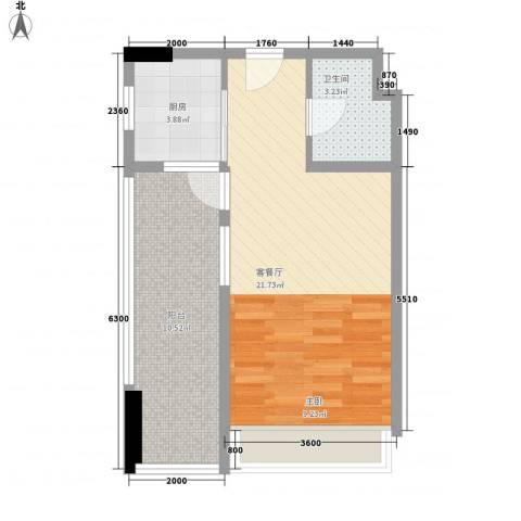天成国际1厅1卫1厨54.00㎡户型图
