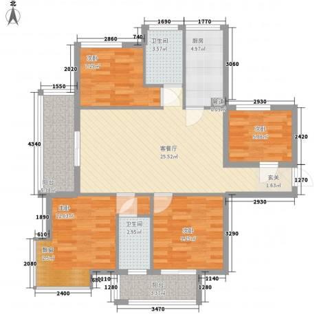 新港富海家园4室1厅2卫1厨115.00㎡户型图